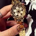 Бренд Женщин Горный Хрусталь Часы Вращения Женщины Часы Топ Качество Австрийский Алмаз оболочки Розового Золота Женщина Леди Платье Часы Часы