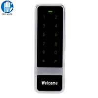 NFC 13.56mhz Metal Touch Screen Number Door Lock RFID Waterproof Keypad Card Reader Access Control System C50 Silver