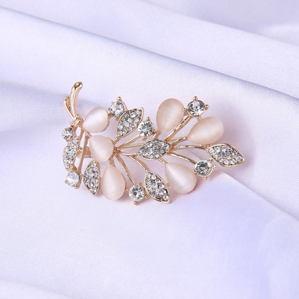 1 pcs Crystal Rhinestone opal brooch bouquet flower brooch Rose gold plated leaves shaped wedding bride for women