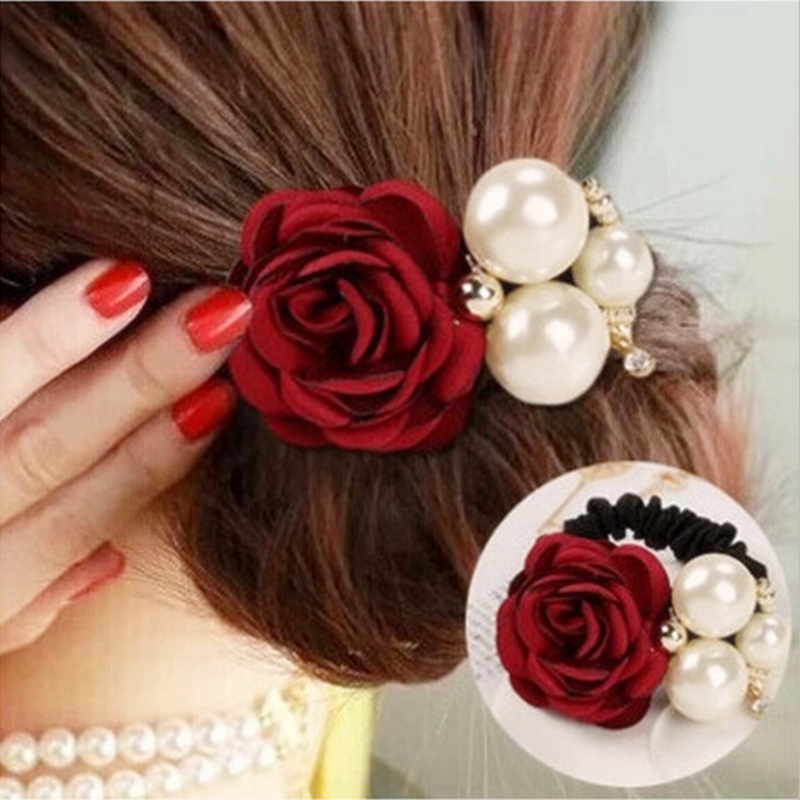 New Flocking Cloth Red Rose Flower Hair Clip Hairpin