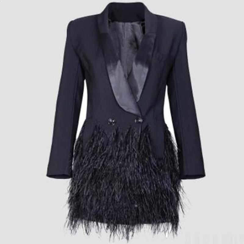 Spring Autumn Fashion Blazer Women Jacket Black Feathers Notched Jaqueta Feminina Celebrity Runway Jackets Elegant Lady Blazer
