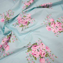 Hot Blue Big Rose Printed 100% Cotton Fabric Meter for bed linen or clothing