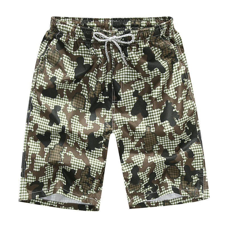 Mens Beach Shorts Leisure Loose Green Camouflage Printed Shorts Quick-Drying Surfing Beach Pants Plus Size 3XL 4XL
