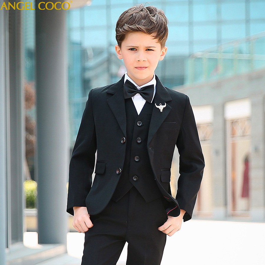 5 Piece 2018 New Boy Flower Girl Wedding Suit Korean Boys Prom Suits British Children Suit Costume Enfant Garcon Mariage Tuxedo 3 5mm male to female audio extender cable w microphone black white