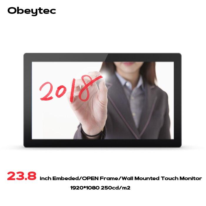 Obeytec 23.8 Large 16:9 P-CAP Capacitif Ouvert Cadre PCAP tactile écran Tactile LCD Moniteur, FHD Résolution, 10 Points, IP65