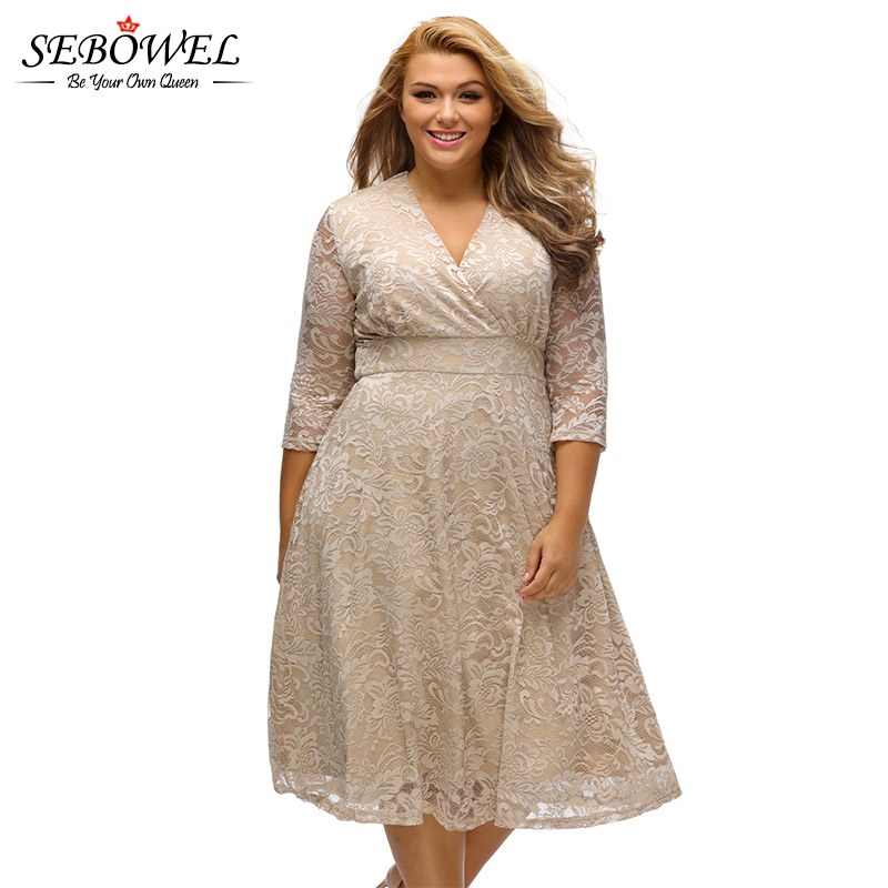 US $33.32 |SEBOWEL 2018 Autumn Plus Size Skater Dress Women Office Work  Wear Midi Dress Big Size Lace Party Dress Vestido De Renda-in Dresses from  ...