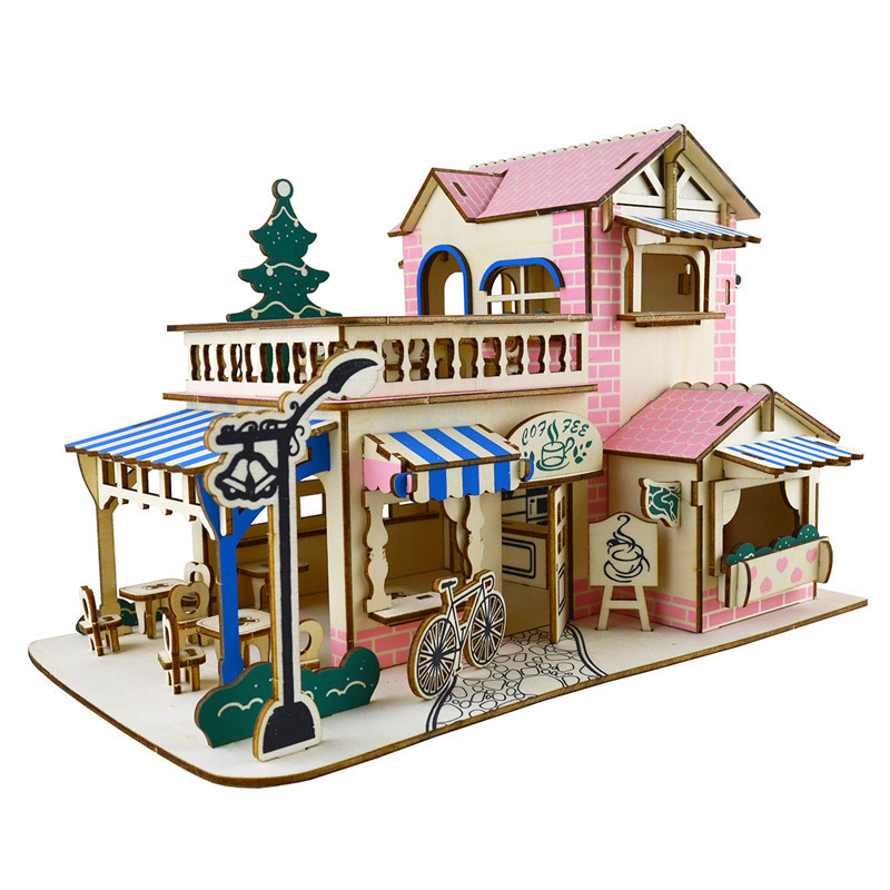 Us 34 30 Offwooden House Toys Diy 3d Puzzle House Model Dollhouse Construction Jigsaw Building Bricks Toys For Children Adults Education Toy In