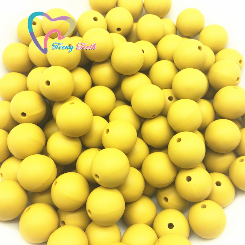 Bright Teeny Teeth 10 Pcs Mustard Yellow Baby Accessories Beads Round Size 12-15 Mm Food Grade Teething Silicone Bead For Diy Jewelry With The Most Up-To-Date Equipment And Techniques Beads