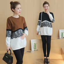 Autumn and winter maternity pregnant women add velvet thick sweater in the long section of lace stitching shirt