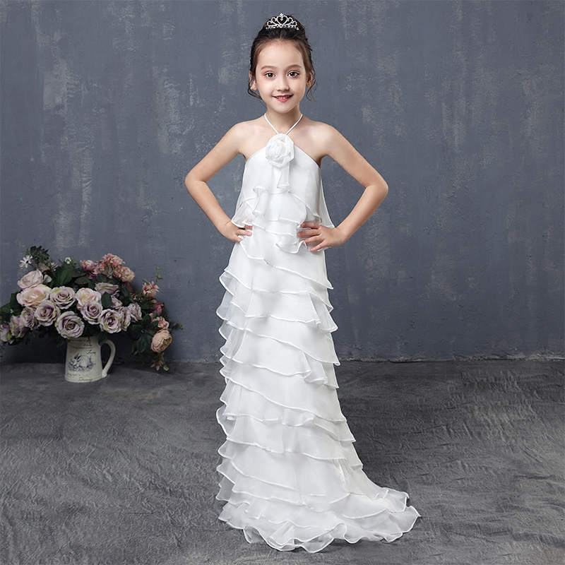1-12 Years Summer Girl's Dress White Solid Halter Princess Dresses Tiered Chiffoon Flower Girl Dress Kids Pageant Gowns AA17 guess new white illusion panel halter dress msrp $129 dbfl