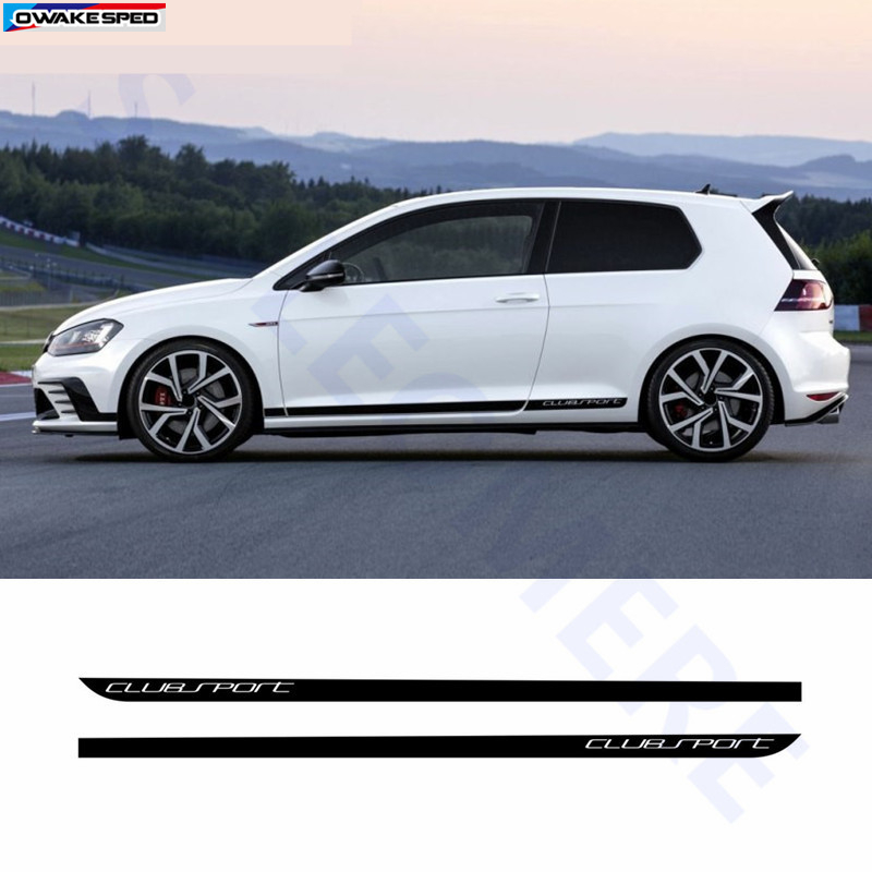 Clubsport Styling Carbon Fiber Decal Car Side Skirt Sticker Automobiles Accessories For Volkswagen Golf 7 MK7