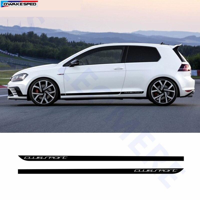 Clubsport estilo de fibra carbono decalque saia lateral do carro adesivo acessórios automóveis para volkswagen golf 7 mk7