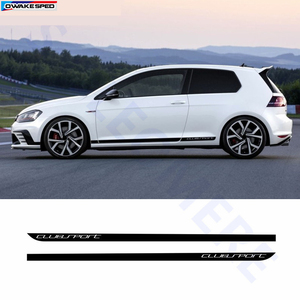Image 1 - Clubsport style fibre de carbone décalcomanie voiture côté jupe autocollant Automobiles accessoires pour Volkswagen Golf 7 MK7