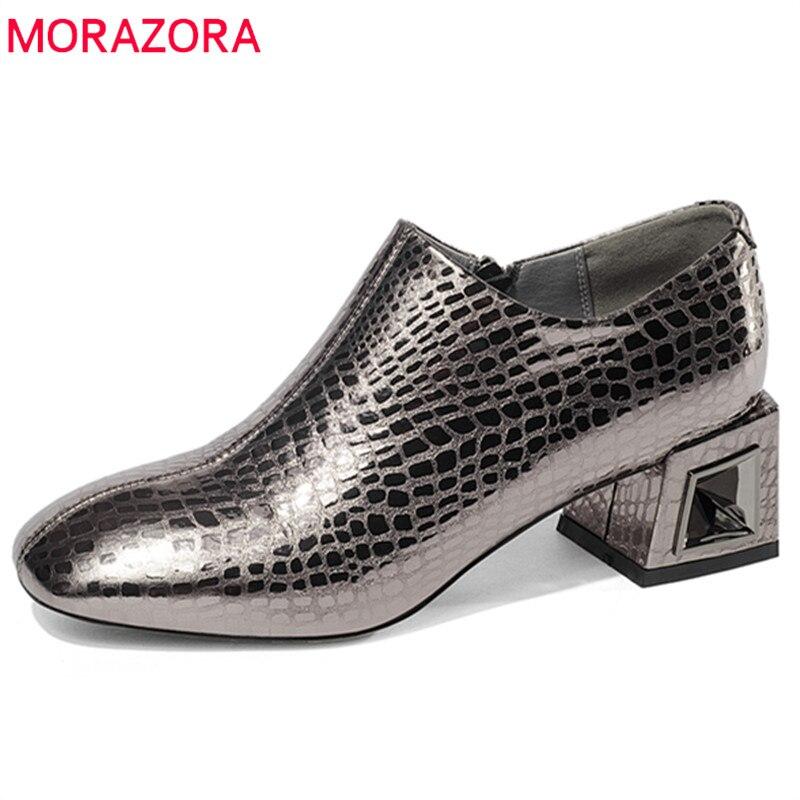 MORAZORA 2020 date en cuir véritable femme chaussures bout rond printemps automne pompes femmes chaussures élégantes talons hauts chaussures-in Escarpins femme from Chaussures    1