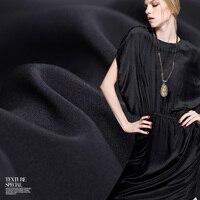 Silk re-crepe 30 mm wide heavy silk fabric black silk fabric drape clothing fabric wholesale silk cloth material