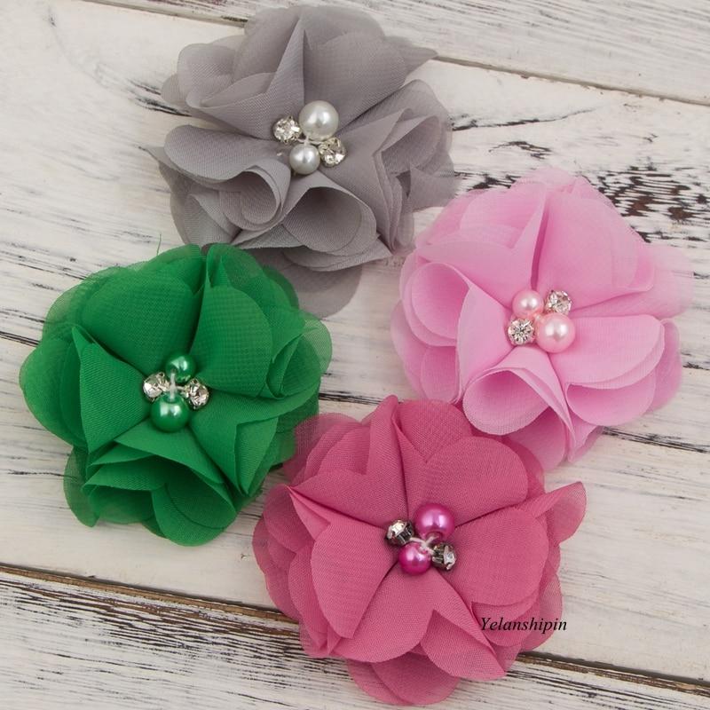 """1 StÜck 2 """"20 Farben Neugeborenen Diy Mini Chic Stoff Spitze Chiffon Haar Blumen Clips Mit Perle Strass Für Stirnband Haar-accessoire"""