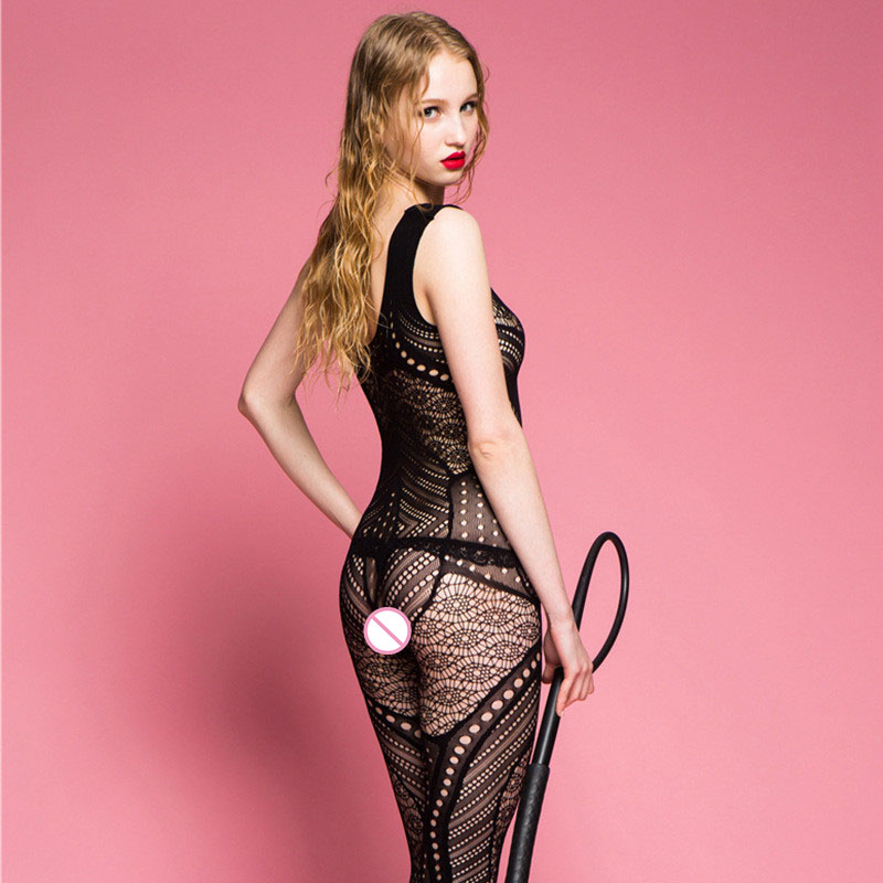 Sexy Lingerie Stockings Hollow Out Open Crotch Bodystocking Sling Strap Siamese Stockings Mesh Bodysuit Lenceria Mujer in Teddies Bodysuits from Novelty Special Use