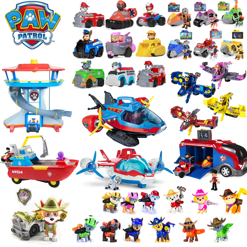 Paw Patrol Dog Toys Full Set Command Center Aircraft Yacht Ferry Tracker Ryder Patrulla Canina Action Figures Juguetes Children image