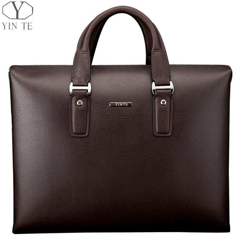 все цены на  YINTE Men's Briefcase Leather Business Handbag A4 Paper Messenger Bag Laptop Shoulder Bag  Men Brown HandbagTotes T8196-5  онлайн