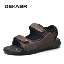 DEKABR Brand Mens Casual Shoes Genuine Leather Sandals Men Flip Flops Breather Slippers Plus Size 38~48 Summer Sapato Masculino