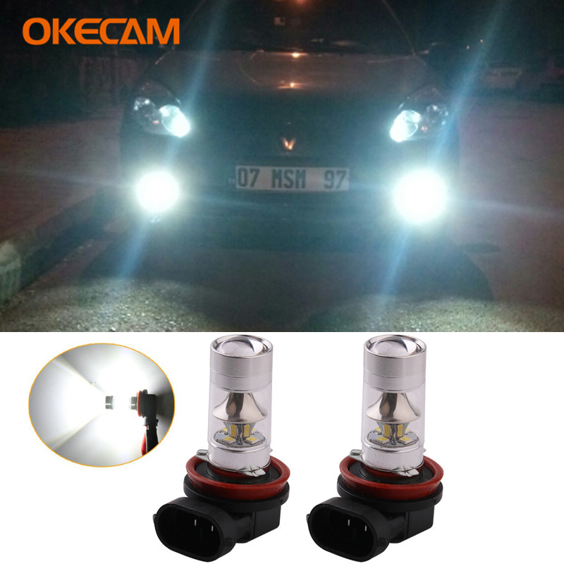 2x Car H8 H11 <font><b>LED</b></font> Fog <font><b>Lamp</b></font> Daytime Running Light Bulb For <font><b>Renault</b></font> <font><b>Megane</b></font> <font><b>2</b></font> 3 Fluence Koleos Latitude Car Driving Light 12V 24V image