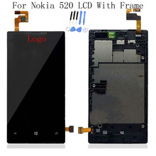 Black 100% Test For Nokia Lumia 520 LCD Display Touch Screen Digitizer Assembly + Bezel Frame Replacement + Tools Free Shipping