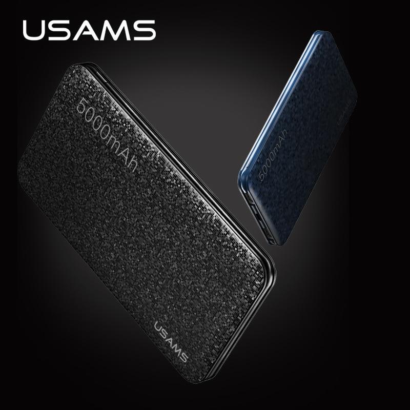 USAMS Universal 5000mAh power bank External battery dual USB font b powerbank b font for phone