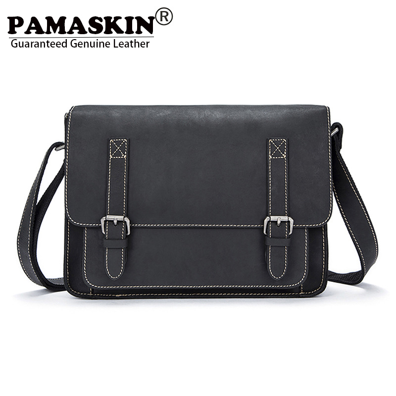 PAMASKIN Hot Men Vintage Messenger Bags Luxury Crazy Horse Real Leather 2018 Retro Male Shoulder Bags Cover Style Cross-body Bag