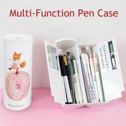 Wielofunkcyjny ołówek Case dwuwarstwowe pudełko na długopis z kalkulatorem lustrzanym pisak do tablic suchościeralnych wycieraczka do przyborów szkolnych kosmetyczka