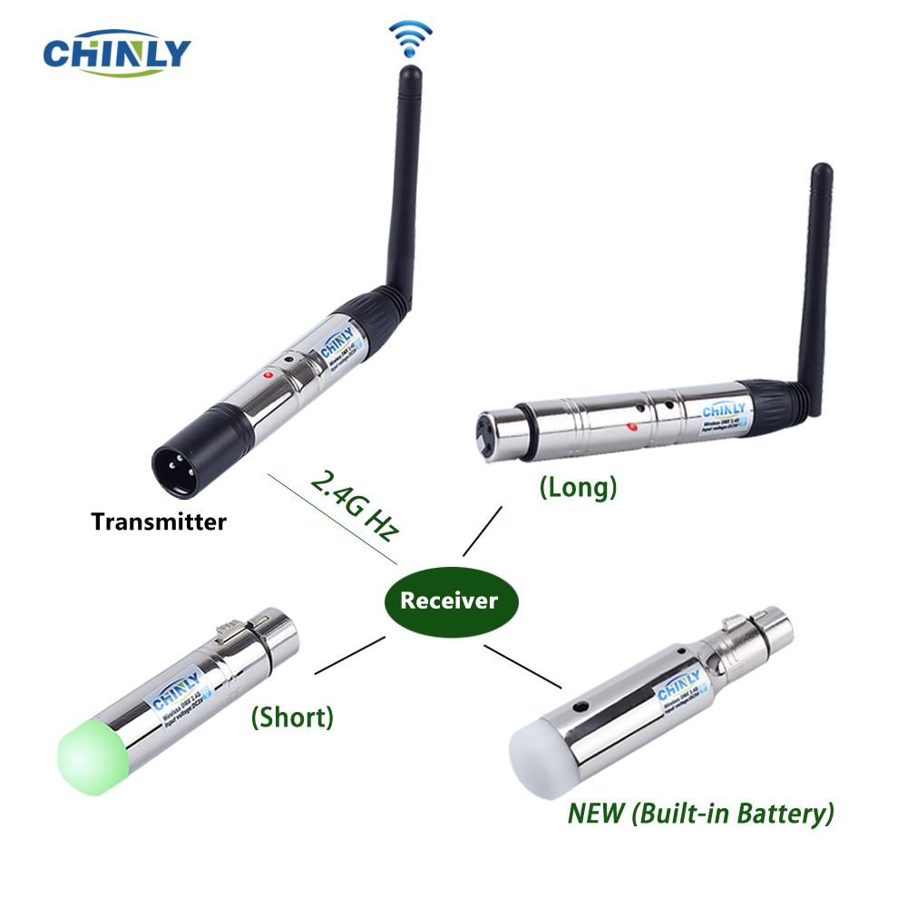 DMX512 Wireless 2.4G Transmitter Built-in Battery Receiver DMX Laser Lights Controller Stage Lighting Effect DMX Emissor US Spot