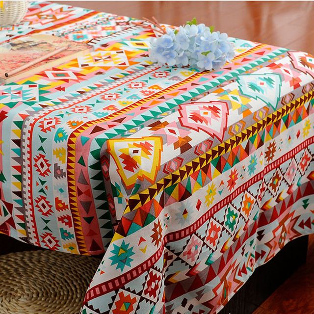 Bohemian Style Tablecloths Cotton American Village Tablecloth Colorful  Geometric Desk Cover Cloth Tablecloth
