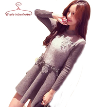 Beading Knit Sweater font b Dress b font Fall And Winter 2016 New Long Sleeve Fashion
