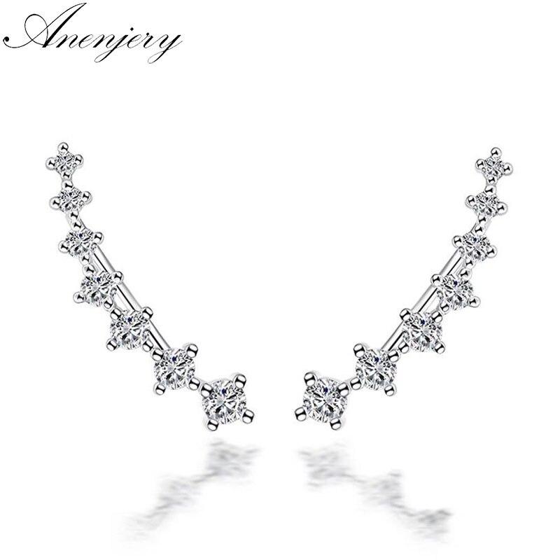 Anenjery 925 Sterling Silver Four Claws Seven Stars Zircon Clip Earrings For Women Ear Cuff boucle d'oreille femme 2017 S-E243