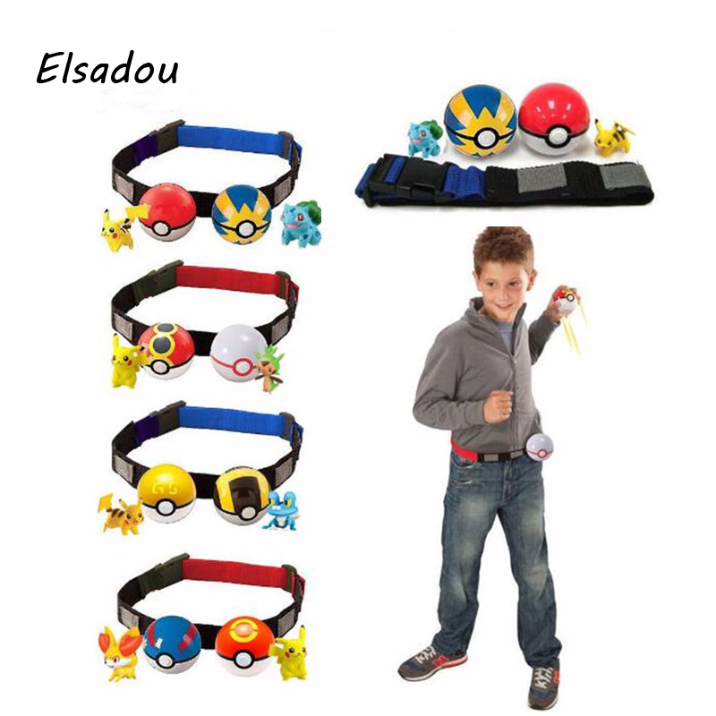 Elsadou 2017 New Poke Belt Pikachu Little Figure Toy Doll Monster Ball цена