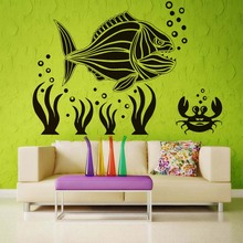Big Fish Crab Coral Diy Wall Sticker Under Sea Design Living Room Decal Stickers Beauty Scenery Waterproof Art Mural Home Decor