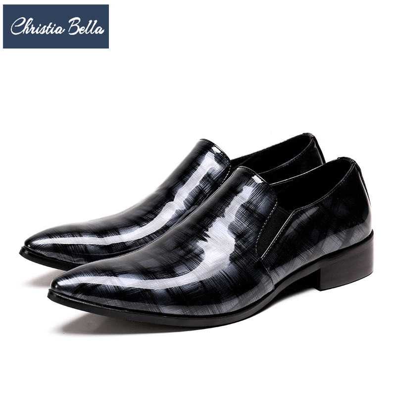 Christia Bella Fashion Men Shoes Genuine Leather Pointed Toe Wedding Business Dress Shoes Large Size Plaid Formal Shoes Office christia bella italian fashion business men dress shoes genuine leather pointed toe wedding formal shoes plus size office shoes