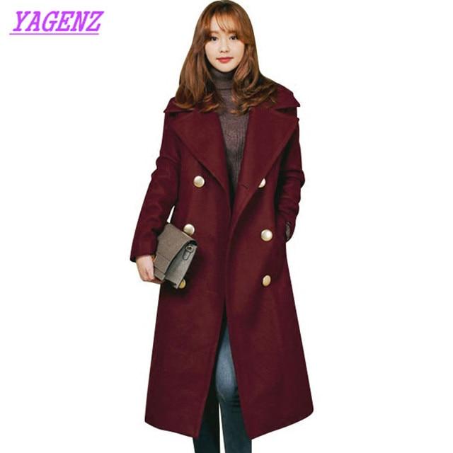 2018 New Winter Student Women warm Woolen Jacket Korean version Loose High quality Wool coat Plus size Long Wool overcoat B182