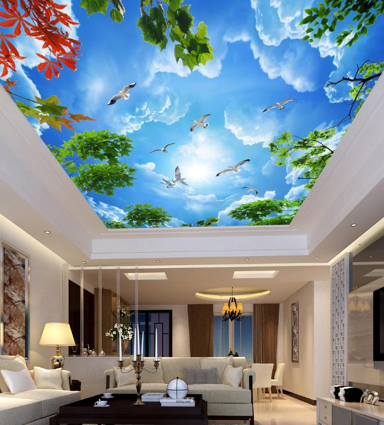 Blue sky Ceiling White Branches 3D Photo Wall paper For Living Room Non-woven Wallpaper 3D Ceiling Modern blue earth cosmic sky zenith living room ceiling murals 3d wallpaper the living room bedroom study paper 3d wallpaper