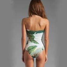One Piece Swimsuit Women Sexy Plant Pattern Deep V-Neck Swimwear Collar Jumpsuit Bathing Suit Swim Monokini Beachwear