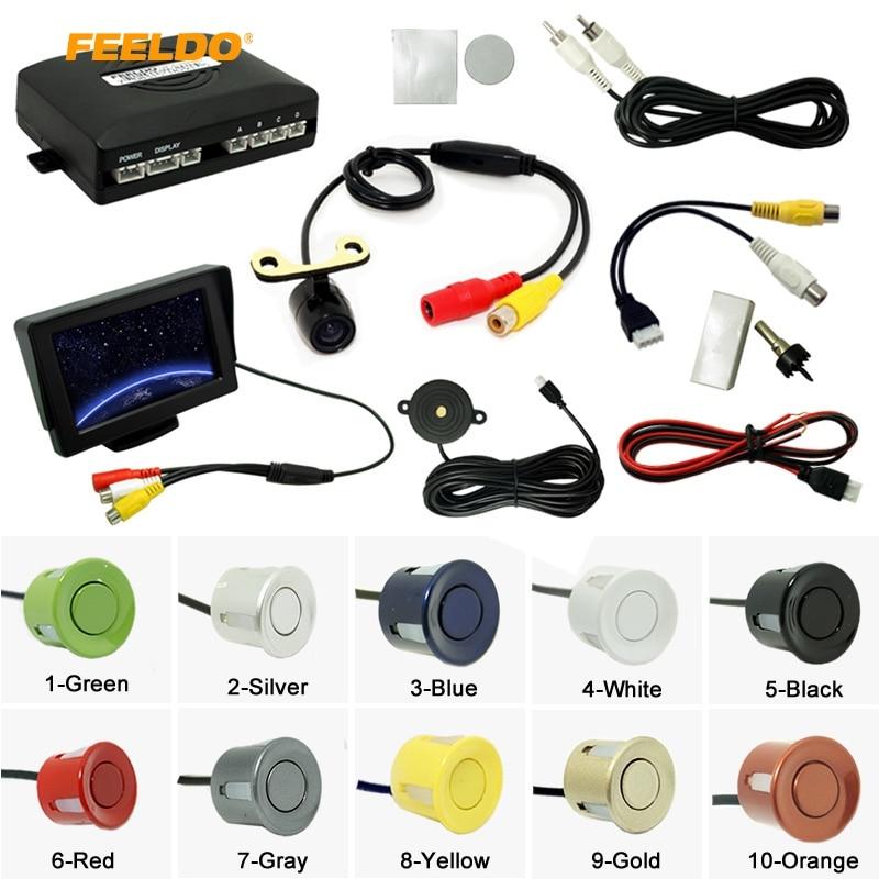 Car 4.3 LCD Monitor + 4-sensor Parking Sensor +16.5mm Mini CCD Camera Reversing Rearview Parking System #962