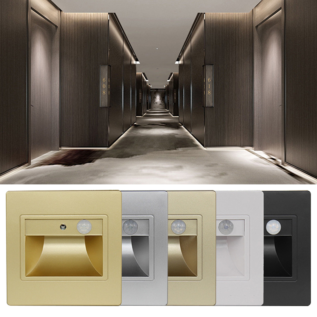5colorsRecessed In Steps Ladder Wall Lamps Led Stair Light Indoor PIR Motion Sensor Infrared Human Body Induction Step Lamp