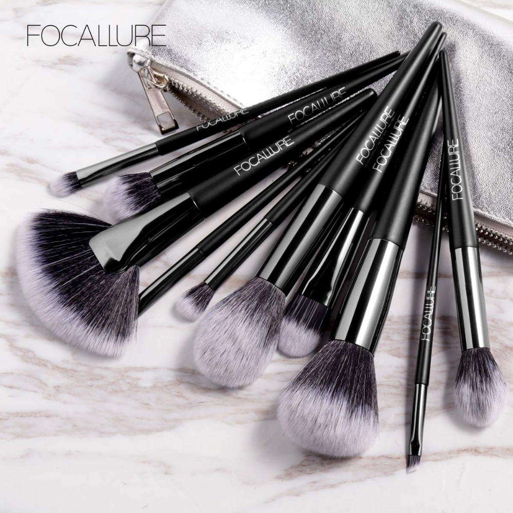 FOCALLURE 10Pcs Set Professional Makeup Brushes Kit with Eyeshadow Foundation Brush Make up Brush Tools