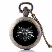 2016 Vintage Wizard Witcher 3 Medallion Pocket Watch Necklace Wolf Head Jewelry Halloween Necklaces & Pendants