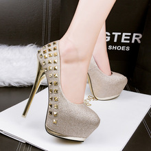 Free shipping 2017 spring new fashion rivets platform Shallow pumps women OL shoes heel 14cm