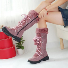 Fashion Female Winter Boots High To Thigh Warm With Zipper Large Size