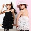 Meninas Vestido de Colete de Verão Sem Mangas Chiffon Criança Vestido Moda Infantil Vestido Em Camadas Vestido de Verão Vestido Infantil Menina Roupas Casuais