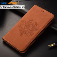 for Samsung Galaxy S5 case KEZiHOME Matte Genuine Leather Flower Printing Flip Stand Leather Cover capa For Samsung i9600 5.1''