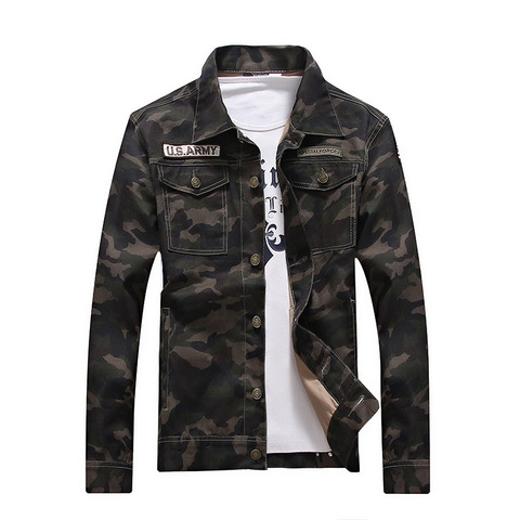 Camouflage 2019 Autumn  Jacket Men Denim Regular Turn-down Cotton Casual Solid Loose Pockets Street Wear Jackets Coats Lahore