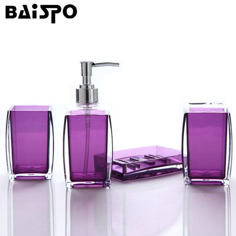 BAISPO Simple Acrylic Solid Color Bathroom Set 4pcs Bath Accessories Set Bathroom Products Wash Set Can Storage Kits