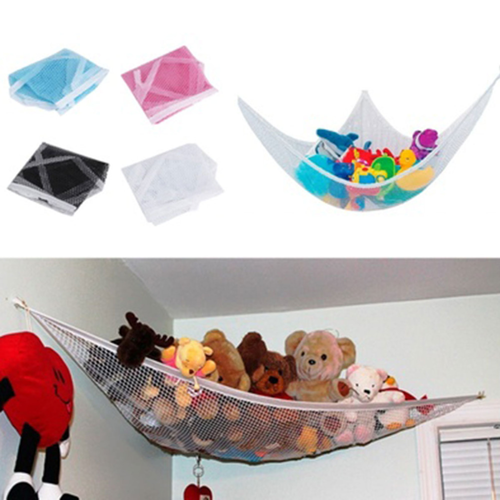 1 PC Polyester Mainan Penyimpanan Mainan Yang Mengandung Hammock Boneka Mainan Organizer Penyimpanan Net 120x80x80 cm Putih / Hitam / Pink / Biru